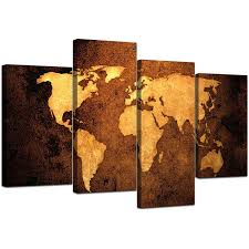 Canvas Map Of The World by Canvas Pictures Of A World Map In Brown For Your Bedroom