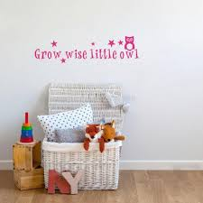 Wise Decor by Kids Quotes Wall Sticker Grow Wise Little Owl Vinyl Cartoon Mural