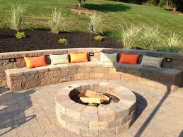 Retaining Wall Ideas For Sloped Backyard Backyard Entertaining Area Outdoor Built In Fire Pit With