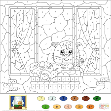 image cat color by number 88 for your for kids with cat color by