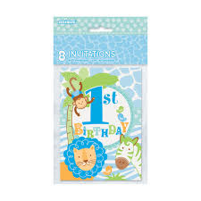 blue safari 1st birthday invitations 1st birthday party supplies