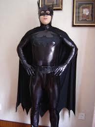 black lycra spandex latex rubber zentai super hero wet look cape