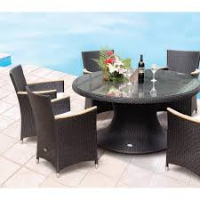 royal teak helena 60 in all weather wicker round dining table