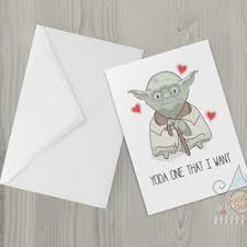 yoda valentines card card yoda one that i want pun card folksy