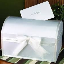 wedding gift card box 14 x 10 x 9 white satin decorated treasure chest greeting card box