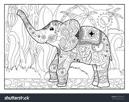 banner coloring pages elephant jungle coloring page mandala style stock vector 420292414