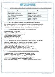 Connectives And Conjunctions Worksheets Time Conjunctions Worksheet Free Esl Printable Worksheets Made