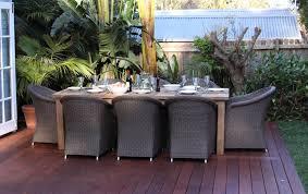 Reclaimed Teak And Wicker  Piece Kubu Dining Setting - Reclaimed teak dining table and chairs