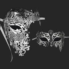 silver masquerade masks for women online shop silver half skull metal prom venetian