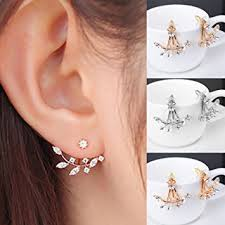 two sided earrings fashion silver plated leaf ear jacket