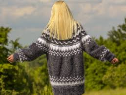 sweaters hand knitted icelandic mohair sweater in bluish grey
