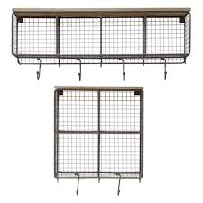 natural wire mesh four horizontal cubbies w raw wooden top