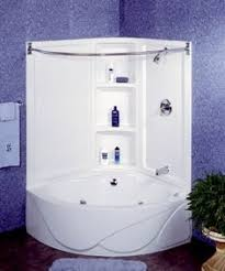 guest saving space in your bathroom with a corner bathtub