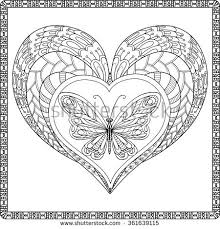love heart butterfly coloring book stock vector 361639094