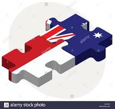 Australia Flags Vector Image Indonesia And Australia Flags In Puzzle Isolated On