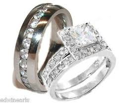 stainless steel wedding ring sets his hers cz sterling stainless steel wedding ring set edwin