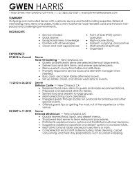 Resume Samples For Server Position by Extravagant Sample Server Resume 6 Unforgettable Examples To Stand