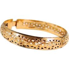 clasp bangle bracelet images Gorgeous filigree solid gold bracelet stamped 18k solid cuff jpg