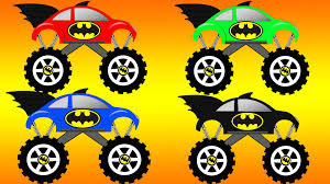monster truck kids video coloring batman monster truck learning colors names with batman