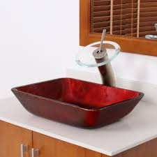 elite 1410 rectangle mahogany tempered glass bathroom vessel sink