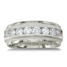 mens wedding rings white gold heavy mens wedding band with 1ct channel set diamonds 14k white