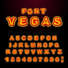 vegas font glowing lamp letters retro alphabet with lamps