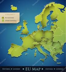 European Union Map Vector Europe Map With European Union Eu Countries U2014 Stock