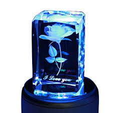 Engraved Music Box Liwuyou Crystal Music Box 3d Roses Flower Colorful Rotating