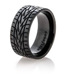 titanium mens rings black goodyear nascar tire tread ring titanium buzz