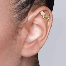 gold cartilage earrings solid 14k gold leaves and berries from shirliclassicjewelry on