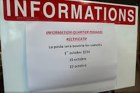 bureau de poste ouvert le samedi penhars infos quimper