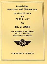 van norman no 38 milling machine instructions u0026 parts manual