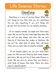 classifying life science reading comprehension worksheet