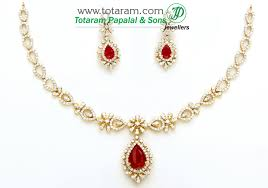 gold set in pakistan 18k gold diamond necklace drop earrings set with color stones