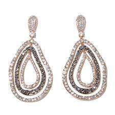 pear drop earrings joan boyce edgy in rosetone 3 row freeform pear shaped open pavé