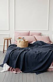 charcoal linen bed throw natural blanket bed cover in waffle
