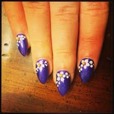 purple shellac stiletto nails with white flower design u0026 yellow