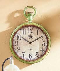 Decorative Metal Wall Clocks Vintage Metal Wall Clock Large Green Distressed Rustic Primitive
