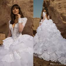 2016 full lace wedding dresses long sleeve tiered skirts wedding
