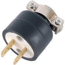 Heavy Duty 15 Amp 2 by Leviton 15 Amp 125 Volt Double Pole 3 Wire Grounding Plug Black