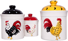 Red Kitchen Canisters Sets French Country Set Of 3 Rooster Storage Canisters