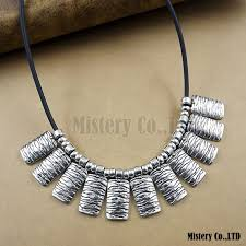 antique necklace silver images Ethnic exaggerated waves vintage antique silver color pu choker jpg