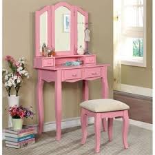 2 Piece Vanity Set Furniture Of America Brooke 2 Piece Kids Vanity Set In Pink
