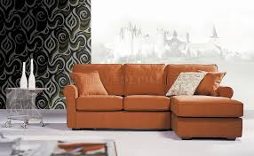 Compact Sectional Sofa Small Sectional Sofa In Orange Fabric