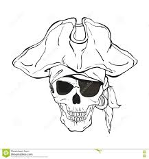 pirate skull with hat and eye patch stock vector image 82543324