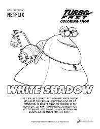 turbo fast white shadow coloring printable coloring pages