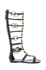 giuseppe zanotti chained leather gladiator sandals in black fwrd