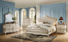 Queen Bedroom Suites Superb Acme Q Pcs Chantelle Rose G Pu Pearl Queen Bedroom Set To