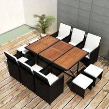 Rattan Patio Table And Chairs Patio Furniture Dining Set Outdoor Wicker Rattan 11 Pc Garden