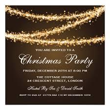 elegant christmas party gold string lights card elegant